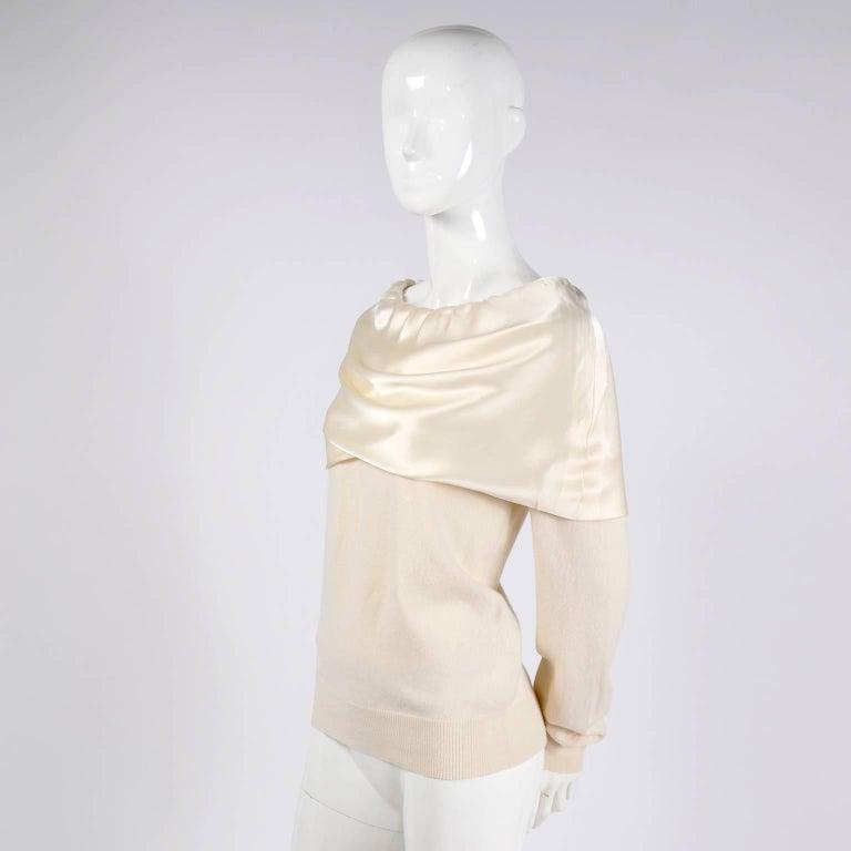 Dolce & Gabbana Cream Cashmere & Silk Off Shoulder Sweater Top Size 44  2