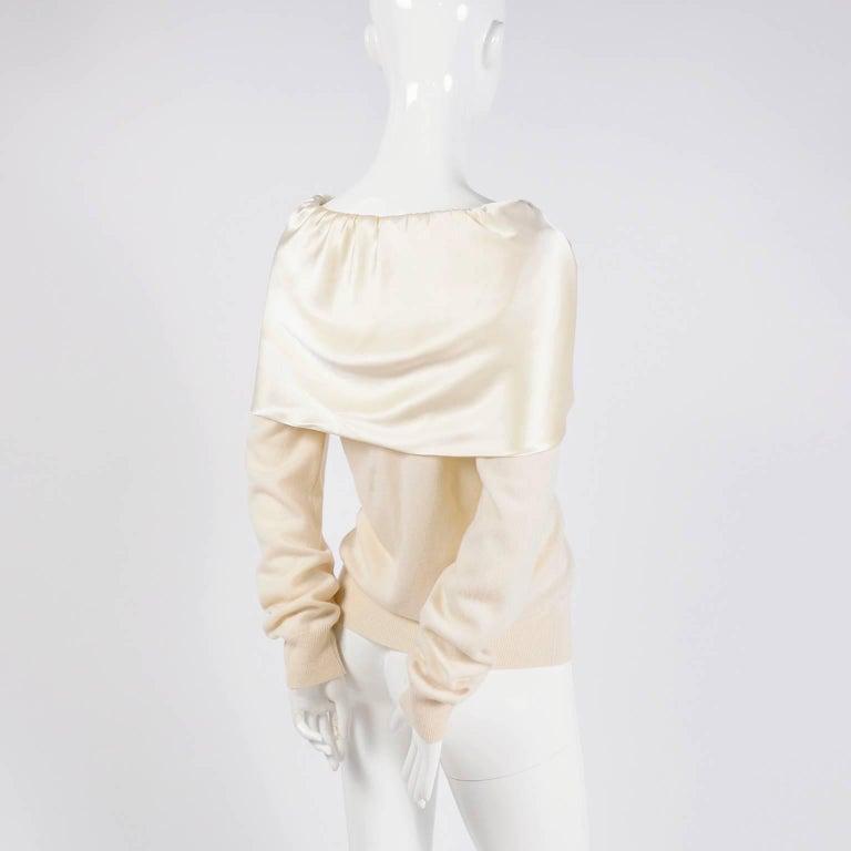 Dolce & Gabbana Cream Cashmere & Silk Off Shoulder Sweater Top Size 44  3