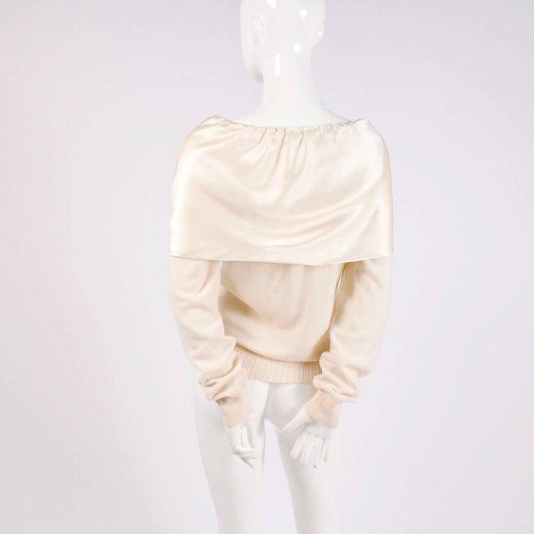 Dolce & Gabbana Cream Cashmere & Silk Off Shoulder Sweater Top Size 44  4