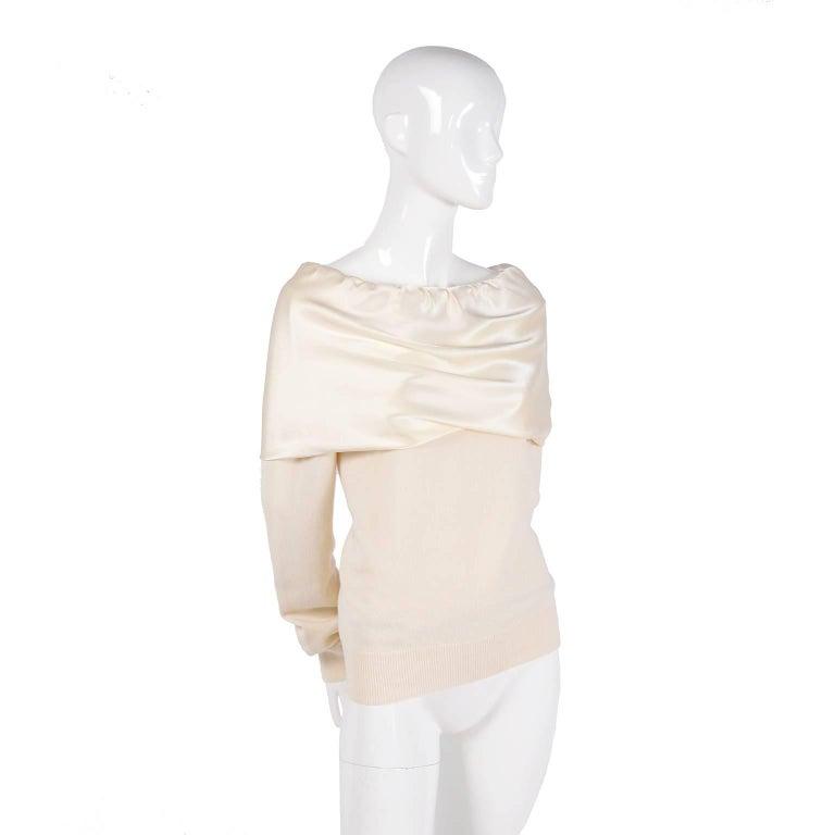 Dolce & Gabbana Cream Cashmere & Silk Off Shoulder Sweater Top Size 44  6