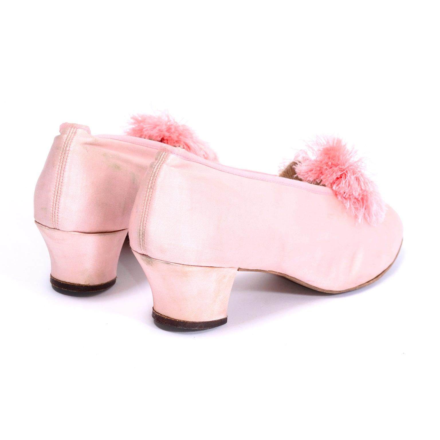 Marshall Field Edwardian Pink Satin Vintage Shoes With Pom Poms 7 High Heel Slides Pompoms For Sale At 1stdibs