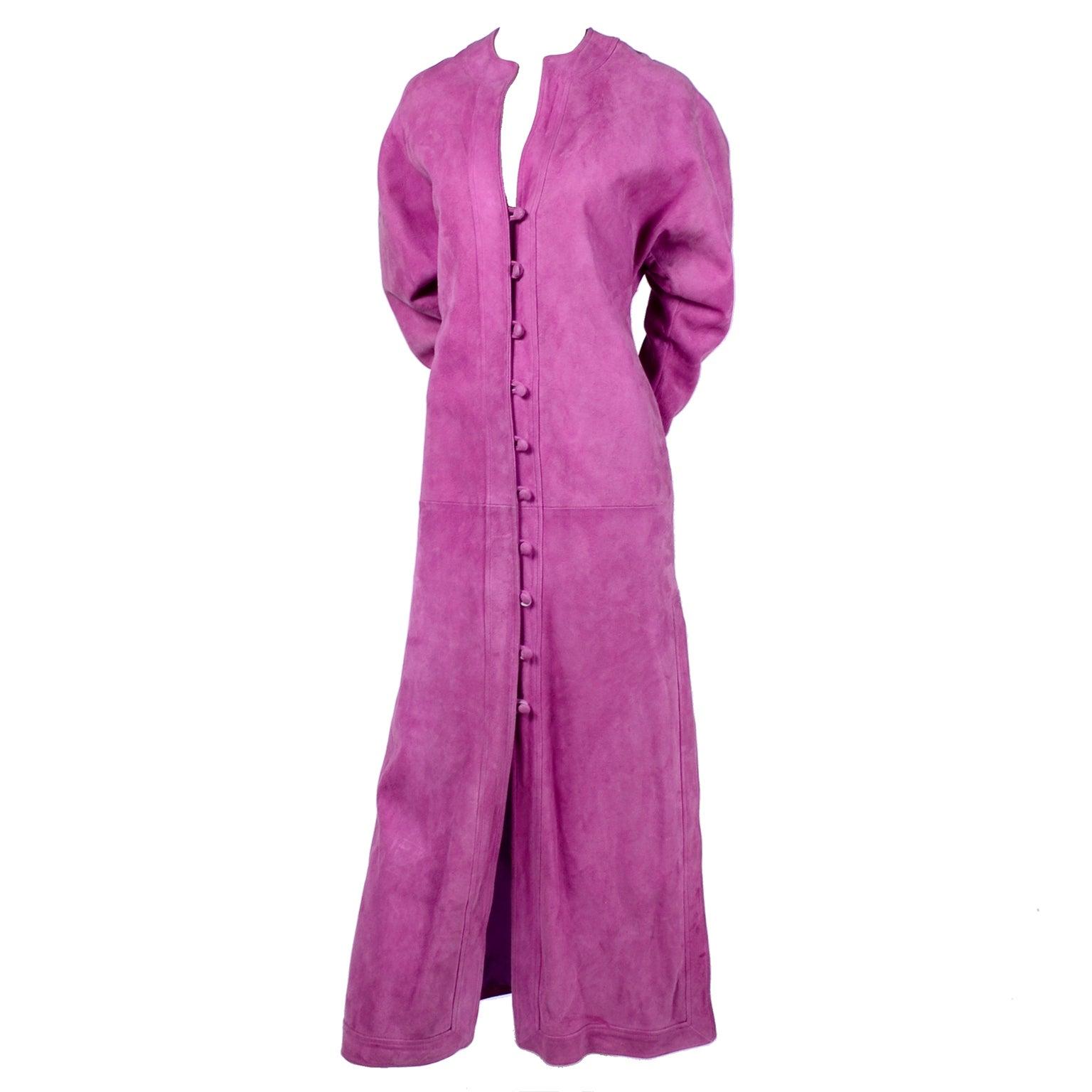 Adolfo Vintage Pink Suede Dress or Coat Dress, 1980s
