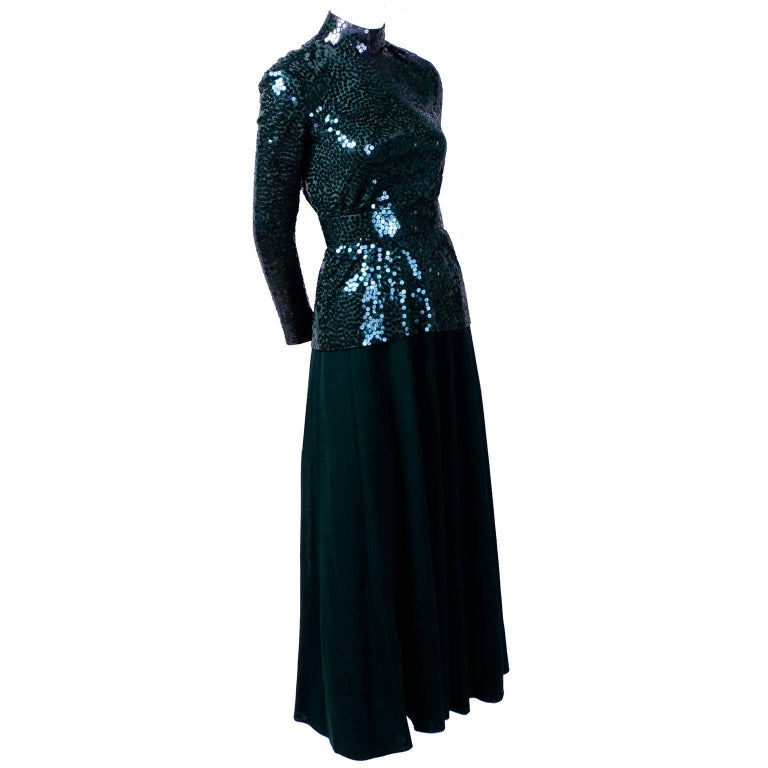 Norman Norell Vintage Dress in Green W/ Sequins Prominent Fashion Family Estate