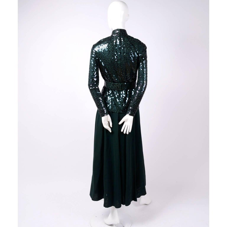Black Norman Norell Vintage Dress in Green W/ Sequins Prominent Fashion Family Estate