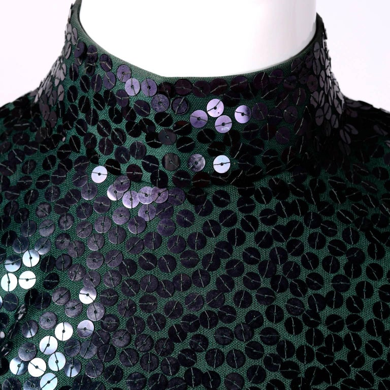 Norman Norell Vintage Dress in Green W/ Sequins Prominent Fashion Family Estate In Excellent Condition In Portland, OR