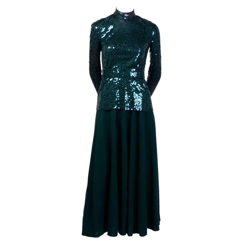 Norman Norell Vintage Dress in Green W/ Sequins Prominent Fashion Family Estate 3