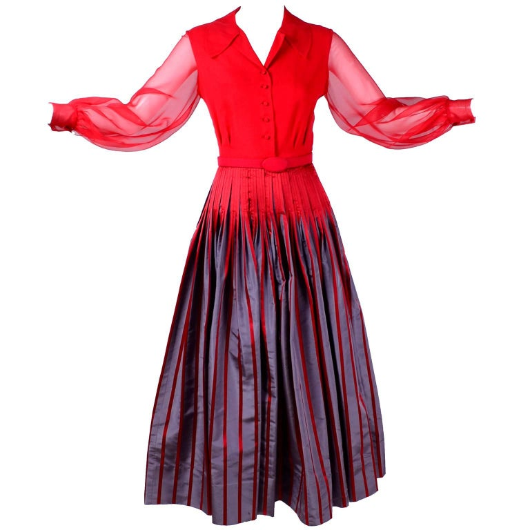 Jean Louis Vintage Red / Gray Taffeta and Red Chiffon Dress with Belt, 1970s