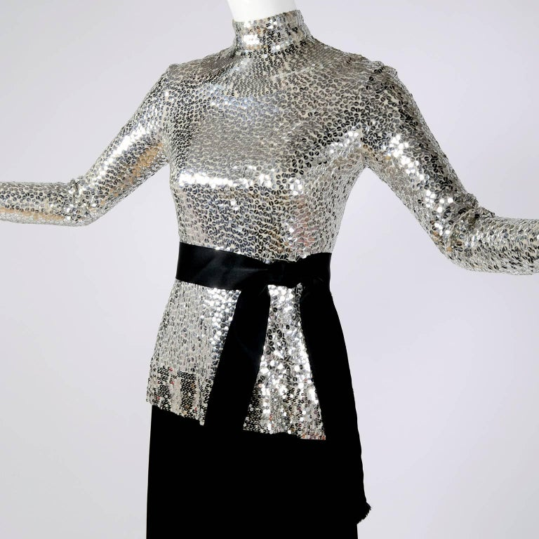 Norman Norell Vintage Dress Two Piece Silver Sequins Evening Top and Black Skirt In Good Condition In Portland, OR