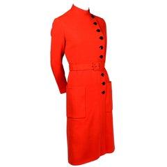1960s Norman Norell Dress in Tangerine Orange Knit Patch Pockets & Belt Size 8