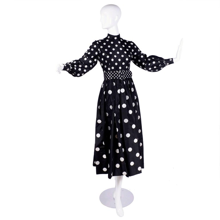 1960s Norman Norell Vintage Dress in Black Taffeta W/ Polka Dots w/ Provenance For Sale 7