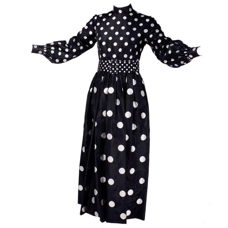 Women's 1960s Norman Norell Vintage Dress in Black Taffeta W/ Polka Dots w/ Provenance For Sale