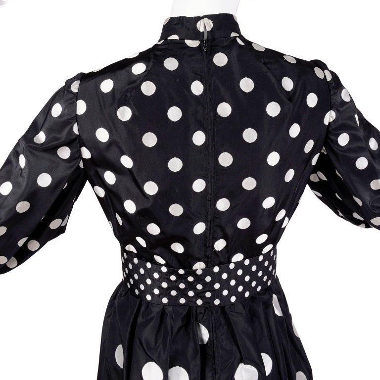 1960s Norman Norell Vintage Dress in Black Taffeta W/ Polka Dots w/ Provenance For Sale 2