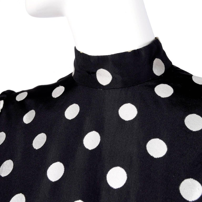 1960s Norman Norell Vintage Dress in Black Taffeta W/ Polka Dots w/ Provenance In Excellent Condition For Sale In Portland, OR