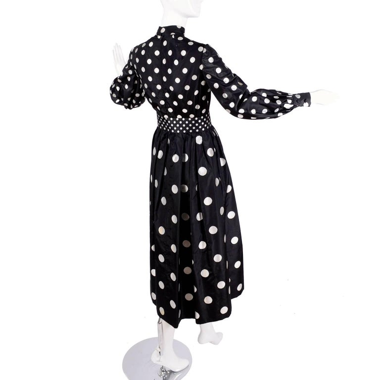 1960s Norman Norell Vintage Dress in Black Taffeta W/ Polka Dots w/ Provenance For Sale 6