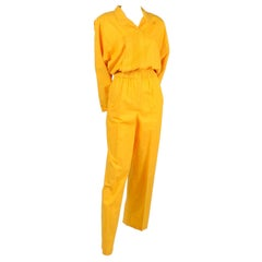1980s Saint Germain Paris Vintage Jumpsuit in Yellow Cotton With Pockets 8/10