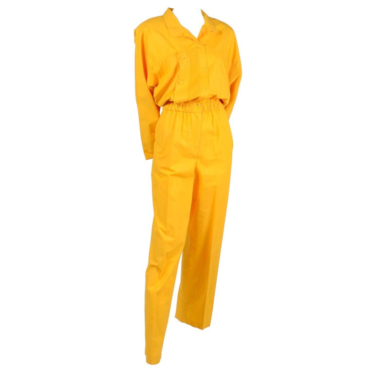 251a6e811c77 1980s Saint Germain Paris Vintage Jumpsuit in Yellow Cotton With Pockets  8 10 For Sale at 1stdibs