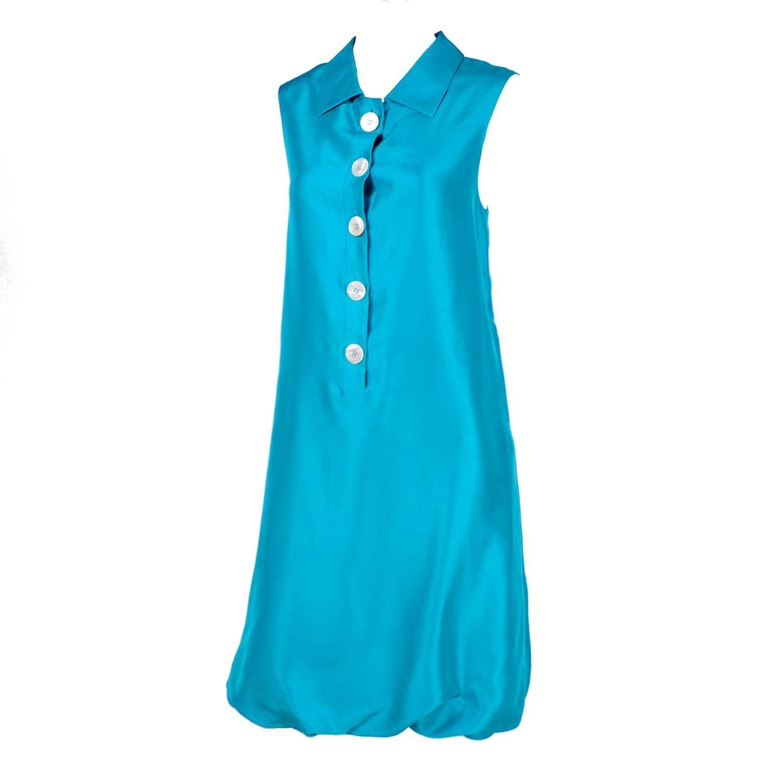 Oscar de la Renta Blue Turquoise Sleeveless Silk Dress W Bubble Hem Resort 2009