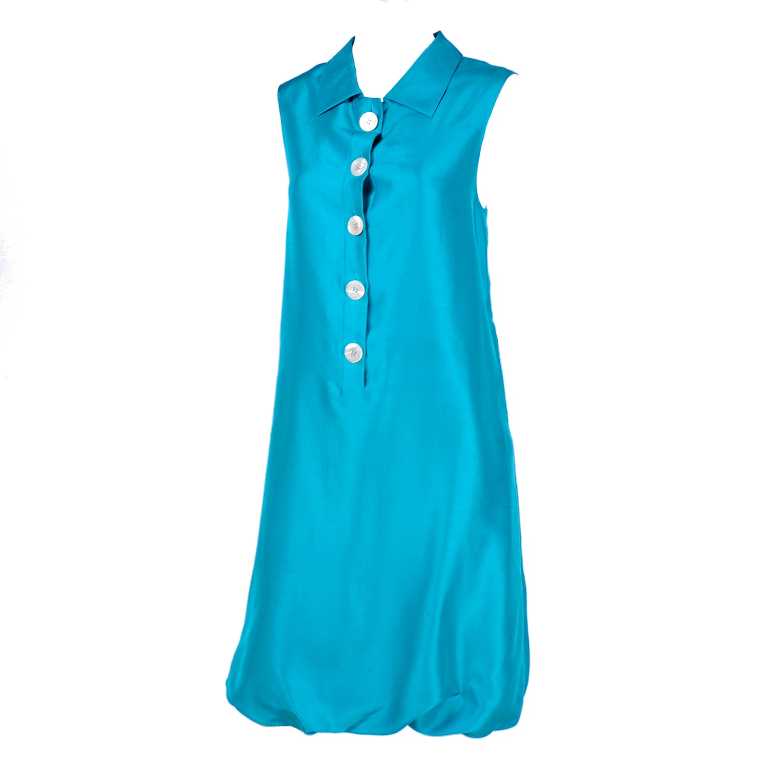 Oscar de la Renta Blue Turquoise Sleeveless Silk Dress W Bubble Hem Resort 2009