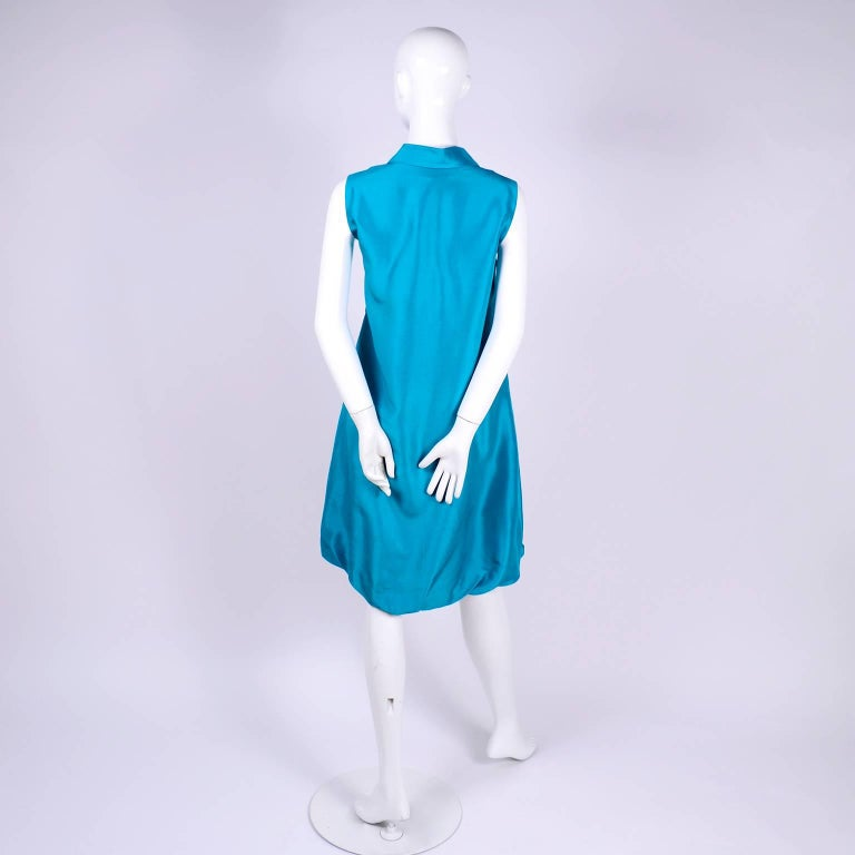 Oscar de la Renta Blue Turquoise Sleeveless Silk Dress W Bubble Hem Resort 2009 For Sale 1