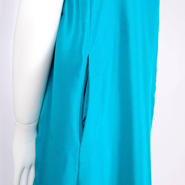 Oscar de la Renta Blue Turquoise Sleeveless Silk Dress W Bubble Hem Resort 2009 For Sale 2