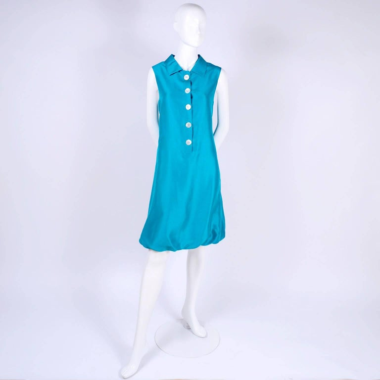 Women's Oscar de la Renta Blue Turquoise Sleeveless Silk Dress W Bubble Hem Resort 2009 For Sale