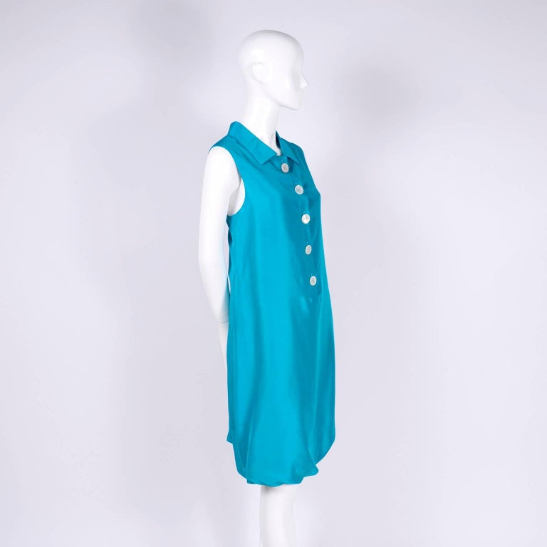 Oscar de la Renta Blue Turquoise Sleeveless Silk Dress W Bubble Hem Resort 2009 For Sale 6