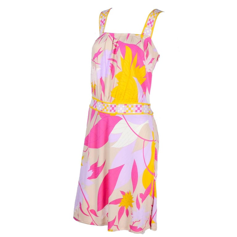 Pucci Rayon Jersey Leaf Floral Print Dress in Pink Cream Yellow and Lavender 10