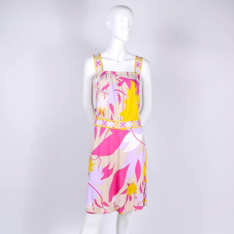 Pucci Rayon Jersey Leaf Floral Print Dress in Pink Cream Yellow and Lavender 10 For Sale 1