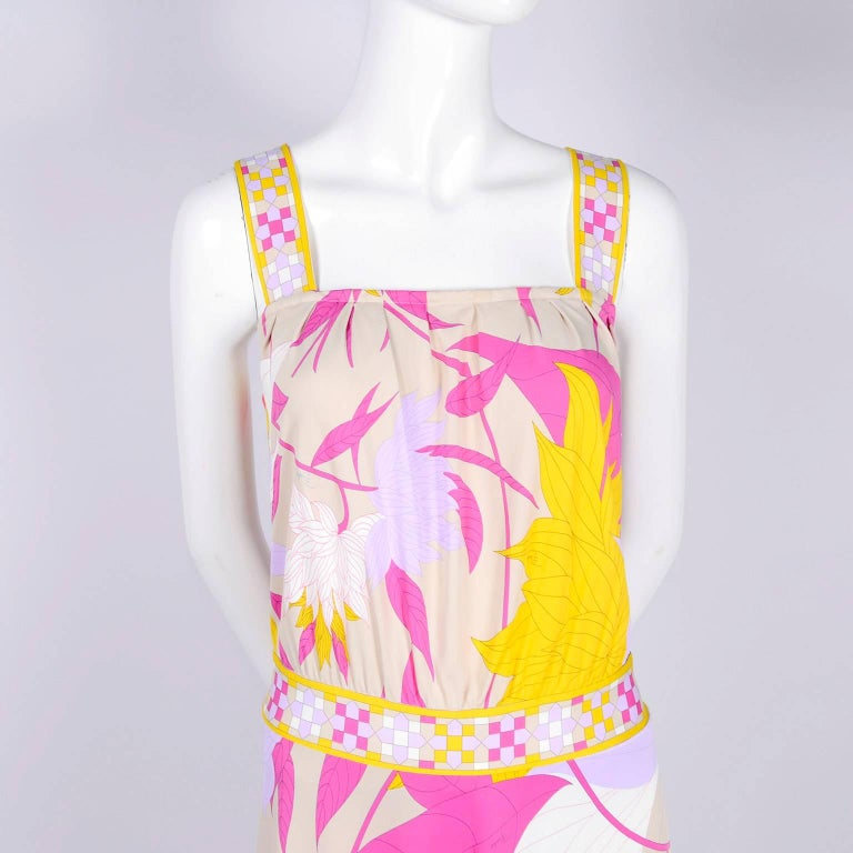 Pucci Rayon Jersey Leaf Floral Print Dress in Pink Cream Yellow and Lavender 10 For Sale 8