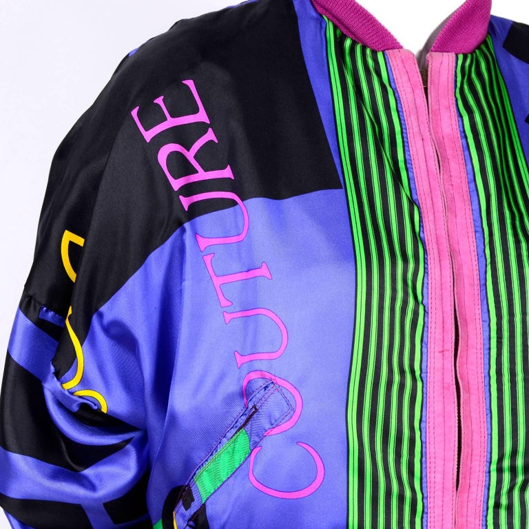 Gianni Versace Pink Suede and Reversible Silk Novelty Print Jacket, 1980s  For Sale 6