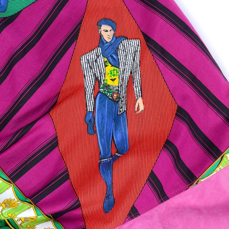 Gianni Versace Pink Suede and Reversible Silk Novelty Print Jacket, 1980s  For Sale 7