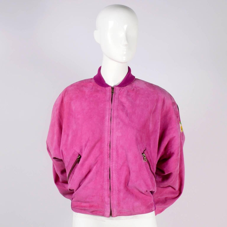 Gianni Versace Pink Suede and Reversible Silk Novelty Print Jacket, 1980s  For Sale 8