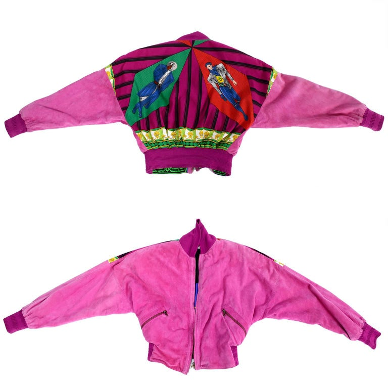 Gianni Versace Pink Suede and Reversible Silk Novelty Print Jacket, 1980s  In Excellent Condition For Sale In Portland, OR