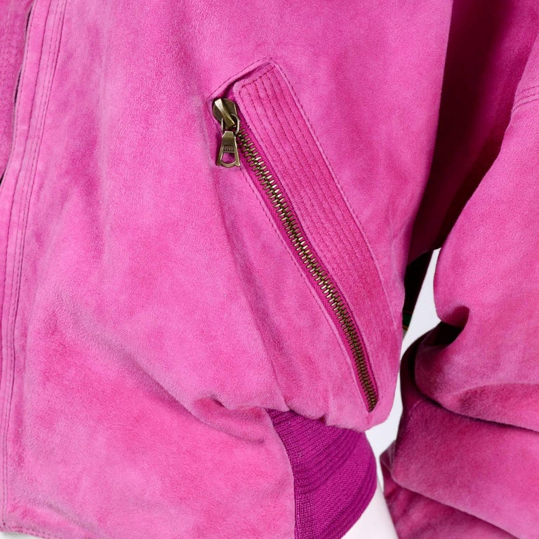 Gianni Versace Pink Suede and Reversible Silk Novelty Print Jacket, 1980s  For Sale 5