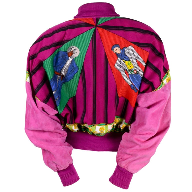 Rare 1980s Gianni Versace Jacket in Pink Suede W/ Novelty Print Reversible Silk