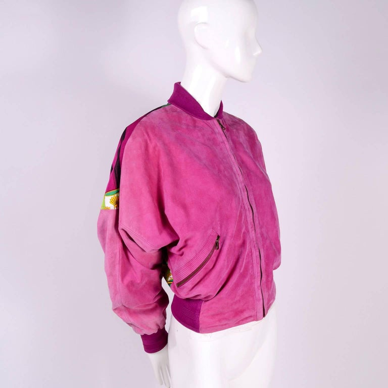 Gianni Versace Pink Suede and Reversible Silk Novelty Print Jacket, 1980s  For Sale 3