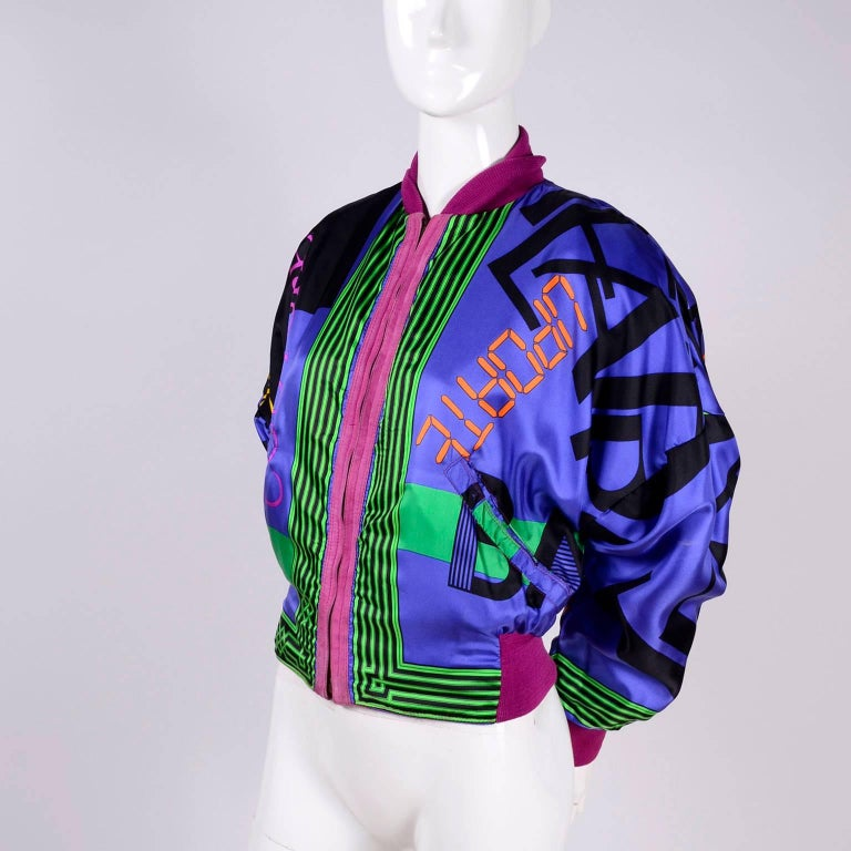 Gianni Versace Pink Suede and Reversible Silk Novelty Print Jacket, 1980s  For Sale 15