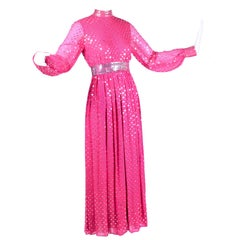 Norman Norell Pink Silk Vintage Dress With Silver Sequins and Sheer Sleeves