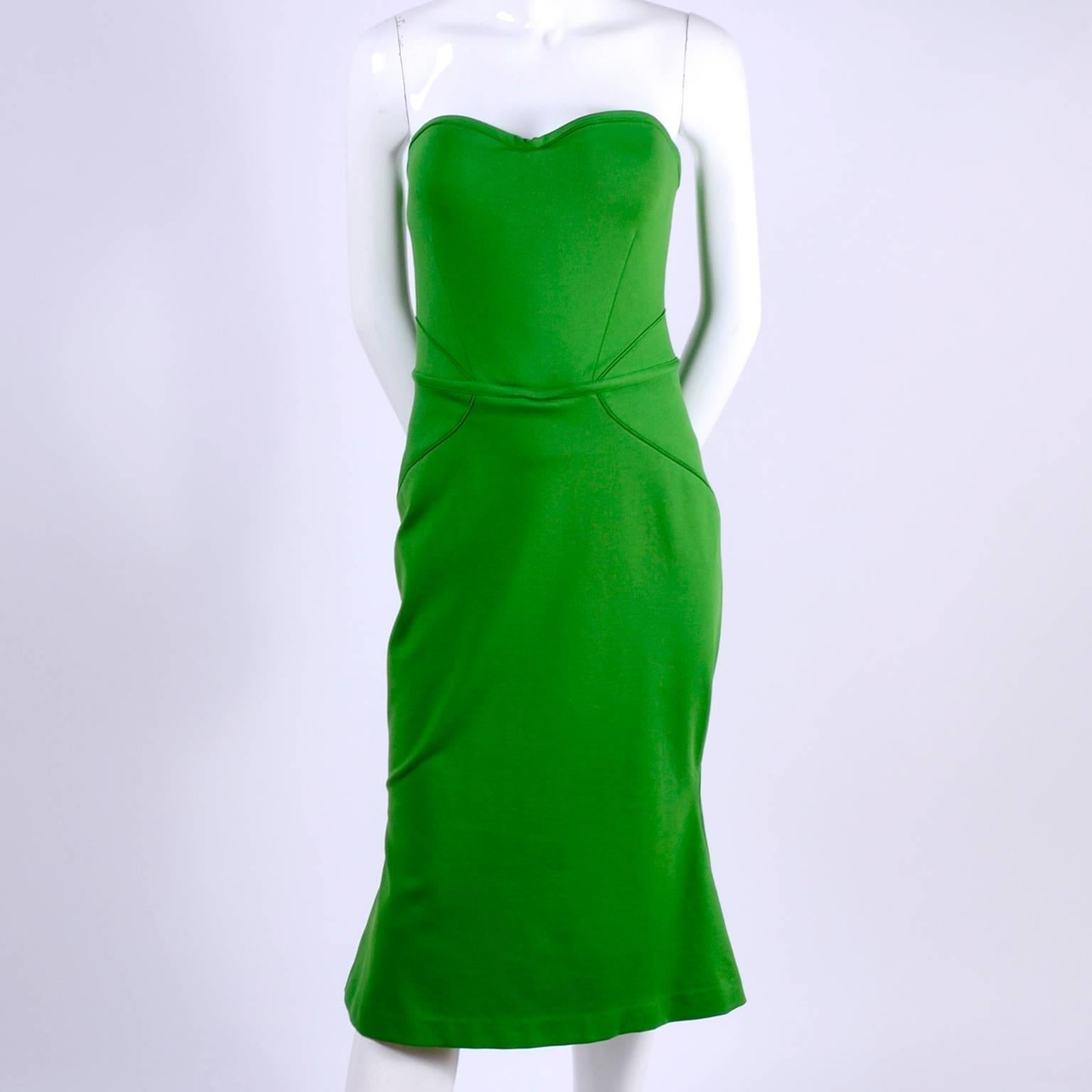 0fce18920ab Zac Posen Strapless Dress in Green W Sweetheart Bodice Hourglass Shape and  Corset For Sale at 1stdibs