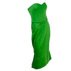 Zac Posen Strapless Dress in Green W Sweetheart Bodice Hourglass Shape & Corset