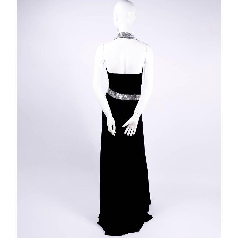 Jiki Monte Carlo Dress Long Black Evening Gown W Rhinestones and Metal Mesh 6 For Sale 4