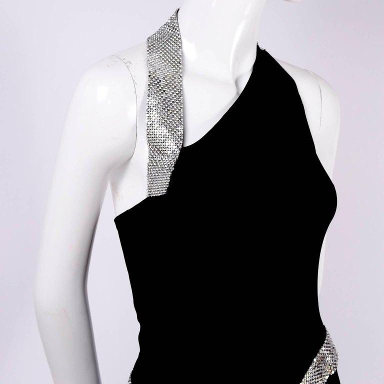 Women's Jiki Monte Carlo Dress Long Black Evening Gown W Rhinestones and Metal Mesh 6 For Sale