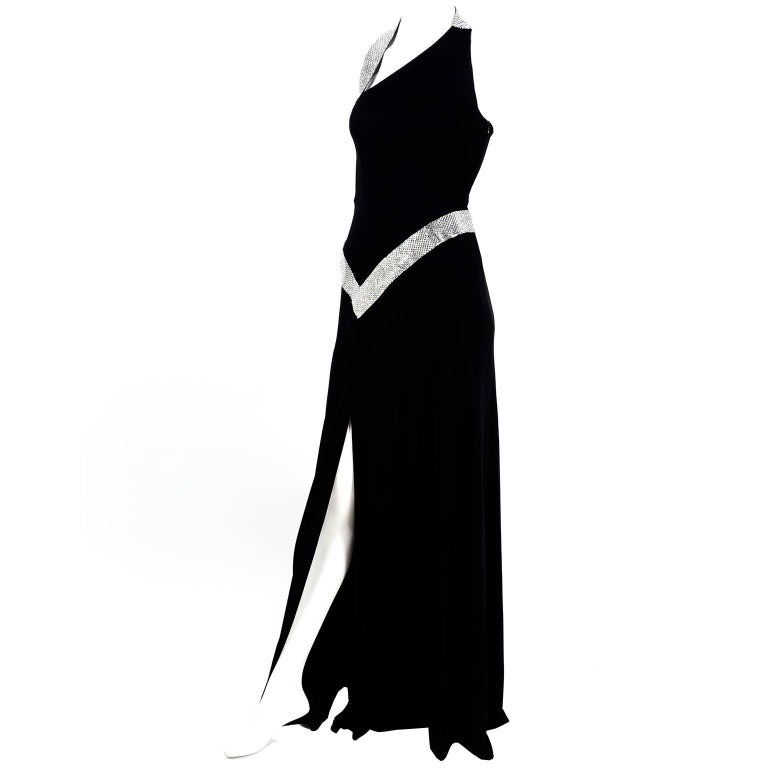 Jiki Monte Carlo Dress Long Black Evening Gown W Rhinestones and Metal Mesh 6 For Sale
