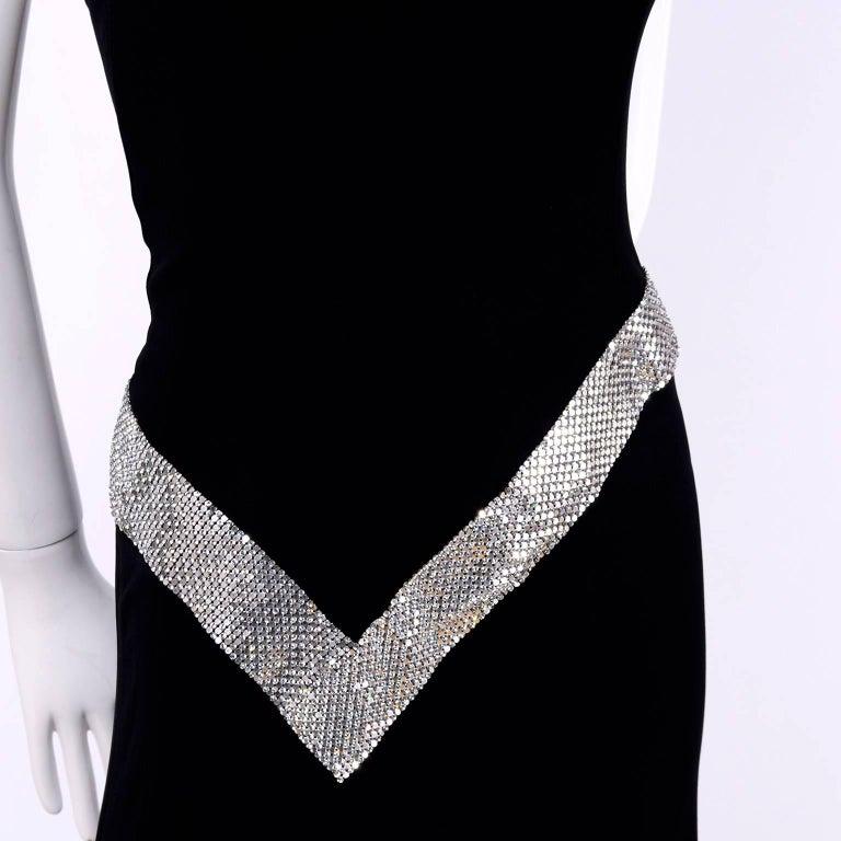 Jiki Monte Carlo Dress Long Black Evening Gown W Rhinestones and Metal Mesh 6 For Sale 2