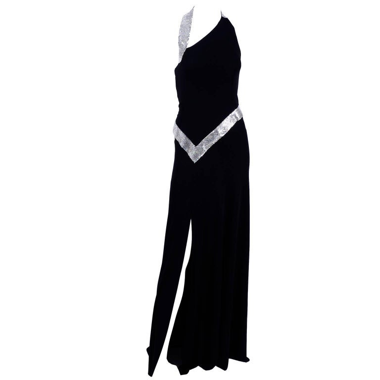 Jiki Monte Carlo Dress Long Black Evening Gown W Rhinestones and Metal Mesh 6 In Excellent Condition For Sale In Portland, OR