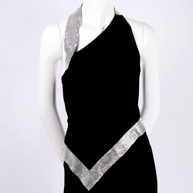 Jiki Monte Carlo Dress Long Black Evening Gown W Rhinestones and Metal Mesh 6 For Sale 1
