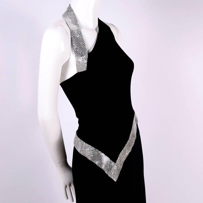 Jiki Monte Carlo Dress Long Black Evening Gown W Rhinestones and Metal Mesh 6 For Sale 3