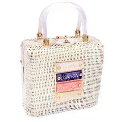 60s Novelty White Wicker Handbag w/ Lucite Rome London New York & Paris Plaques