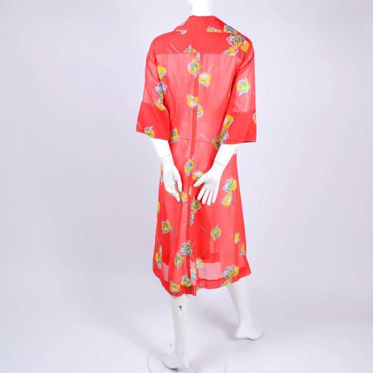 1970s vintage albert nipon dress in red floral voile purple and womens 1970s vintage albert nipon dress in red floral voile purple yellow flowers for sale mightylinksfo