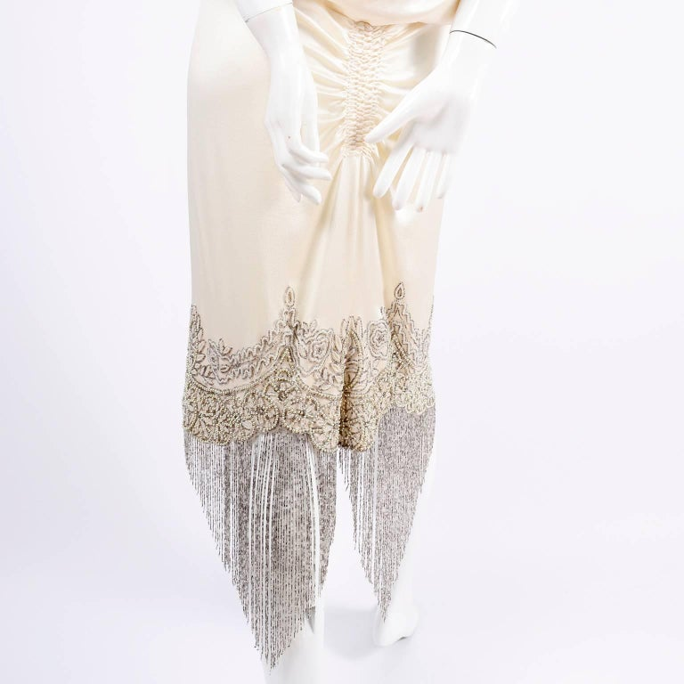 Alexander McQueen Ivory Silk Embroidered Beaded Dress with Fringe, 2007  For Sale 2